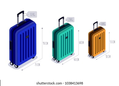 Baggage allowance isolated vector isometric icons. Multicolor luggage, suitcase, bags with tags. Checked baggage, carry-on and hand luggage for traveling by aircraft. Travel and tourism concept.