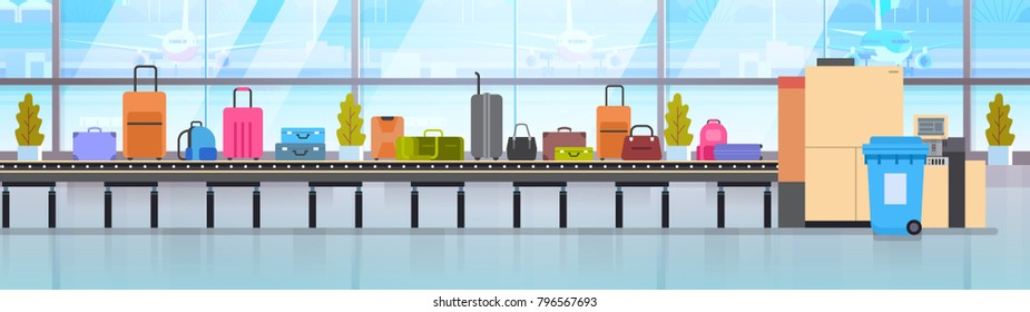 Baggage Carousel In Airport Different Suitcases Scanning On Luggage Conveyor Belt Before Departure Flat Vector Illustration