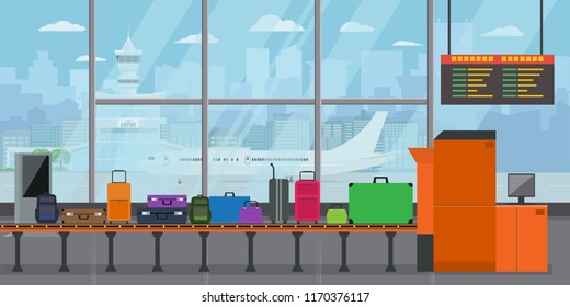 Baggage Carousel In Airport terminal with Suitcases and bags on Conveyor Belt Before Departure. Flat and solid color style Vector Illustration