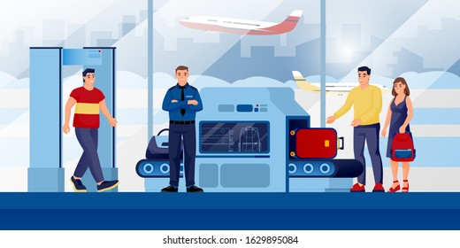 Baggage check-in security control point at airport terminal. Vector illustration. People with luggage, guard cartoon characters. Hand baggage prohibited items and airport flight safety concept