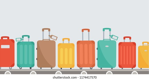 Baggage claim at terminal airport travel bags vector background flat design. luggage, suitcase set on conveyor belt arrival illustration. cover page cartoon. time to travel. journey vacation & holiday