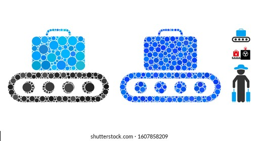 Baggage conveyor mosaic of small circles in various sizes and color hues, based on baggage conveyor icon. Vector random circles are combined into blue mosaic.