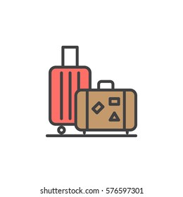 Baggage, luggage line icon, filled outline vector sign, linear colorful pictogram isolated on white. Symbol, logo illustration