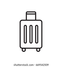 Baggage, luggage line icon, outline vector sign, linear style pictogram isolated on white. Symbol, logo illustration. Editable stroke. Pixel perfect graphics