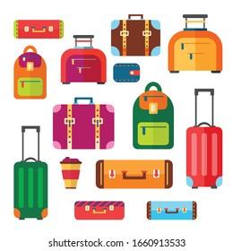 Baggage luggage suitcase backpack vector set