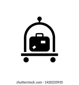 Baggage, Luggage, Suitcases Trolley. Flat Vector Icon illustration. Simple black symbol on white background. Baggage, Luggage, Suitcases Trolley sign design template for web and mobile UI element