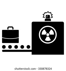 Baggage Screening vector icon. Style is flat black symbol, rounded angles, white background.