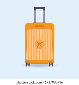 Baggage suitcase with airplane icon on the front. Wheel luggage vector illustration.