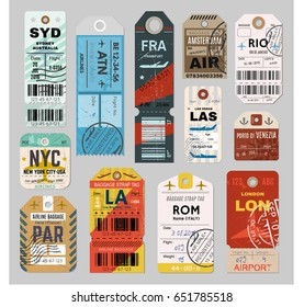 Baggage tag set, checks or luggage ticket for passenger on final destination. Bus, train, and airline trip. Vector flat style illustration isolated on grey background