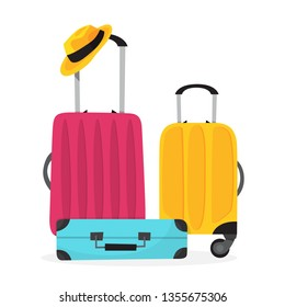 Baggage for travel. Big suitcase for a journey and adventure. Isolated vector illustration in cartoon style