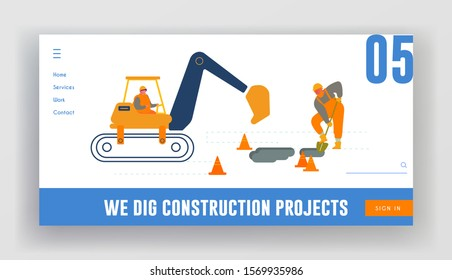 Bagger Excavating Work on Road Repair or Construction Site Foundation Website Landing Page. Excavator Machine and Man Builder Digging Hole in Ground Web Page Banner. Cartoon Flat Vector Illustration