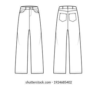 Baggy Denim Jean pants technical fashion illustration with low waist rise, 5 pockets with Rivets and belt loops. Flat bottom apparel template front, back, white color style. Women, men, unisex CAD mockup