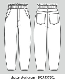 Baggy fit jeans. High-waist paperbag trousers. Women's casual wear. Vector technical sketch. Mockup template.