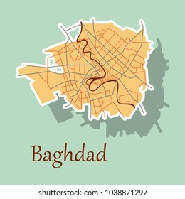 Baghdad city map - Iraq. Sticker. Isolated on background