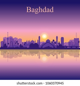 Baghdad city silhouette on sunset background vector illustration