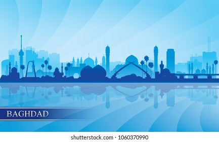 Baghdad city skyline silhouette background, vector illustration