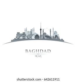 Baghdad Iraq city skyline silhouette. Vector illustration