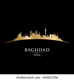 Baghdad Iraq city skyline silhouette. Vector illustration