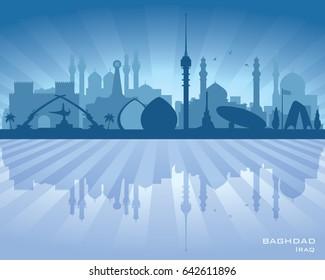 Baghdad Iraq city skyline vector silhouette illustration