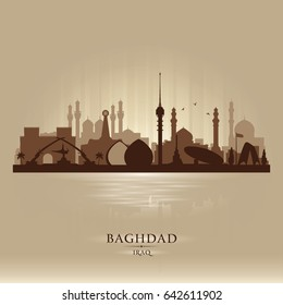 Baghdad Iraq city skyline vector silhouette illustration