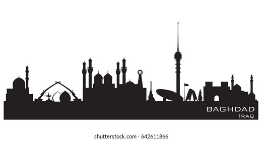 Baghdad Iraq skyline Detailed vector silhouette
