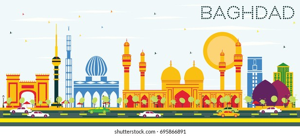 Baghdad Skyline with Color Buildings and Blue Sky. Vector Illustration. Business Travel and Tourism Concept with Historic Buildings. Image for Presentation Banner Placard and Web Site.