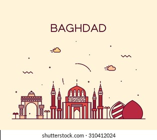 Baghdad skyline, detailed silhouette. Trendy vector illustration, linear style.