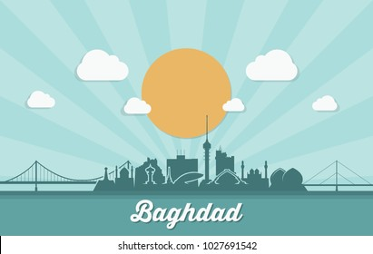 Baghdad skyline - Iraq - vector illustration