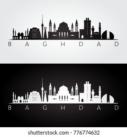 Baghdad skyline and landmarks silhouette, black and white design, vector illustration.