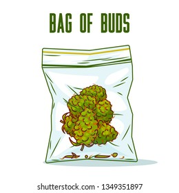 """BagOfBuds"" Vector cartoon image of small plastic bag with some marijuana buds (heads) in . Isolated image."