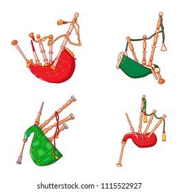 Bagpipes scotland music icons set. Cartoon illustration of 4 bagpipes scotland music vector icons for web