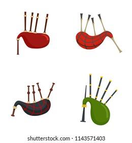 Bagpipes scotland scottish icons set. Flat illustration of 4 bagpipes scotland scottish vector icons isolated on white