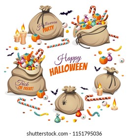 Bags of сolorful Halloween sweets for children: candy, chocolate, jelly isolated on white background.