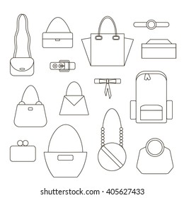 Bags and Handbag Linear Icons Set on White Background. Vector illustration