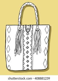 Bags hand-drawn. Line art. Handbags. Black and white graphics. Stylized. Decorative.