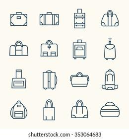 Bags line icon set