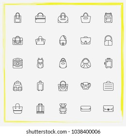 Bags line icon set sathel, shopper bag and tote