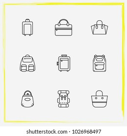 Bags line icon set women bag, purse and shopper bag