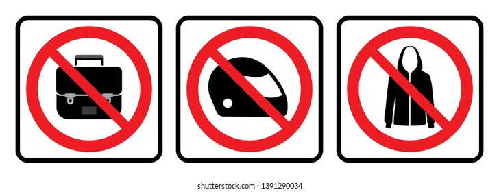 Bags not allowed icon,Full face helmet not allowed sign and No jacket symbol