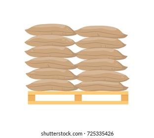 Bags on pallet. Vector illustration flat design