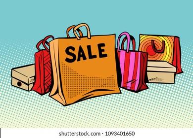 bags sale, season discount background. Pop art retro vector illustration comic cartoon kitsch drawing