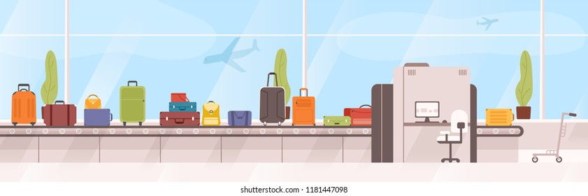 Bags, suitcases on baggage carousel against window with flying aircrafts on background. Device with conveyor belt delivering checked luggage at airport. Colorful vector illustration in flat style.