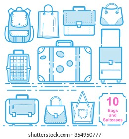 Bags and suitcases vector illustration