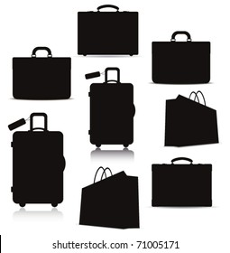 bags. Vector silhouette