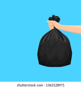 bags waste, garbage black plastic bag in hand isolated on blue background, bin bag plastic black for disposal garbage, icon bag trash and hand, bags waste full, illustration rubbish junk bag recycle