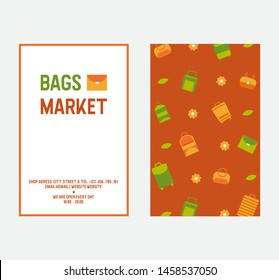 Bags and women's handbags two sides vector illustration and pattern. Tote, shopper, hobo, bucket, satchel and pouch bags. Trendy leather accessories.