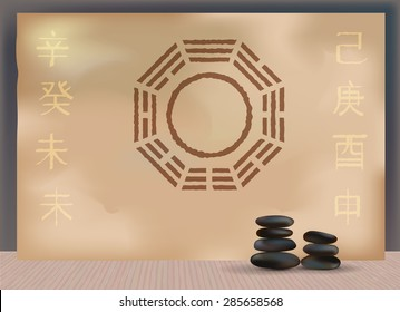 Bagua Feng Shui mirror in peaceful interior with bamboo floor and stones
