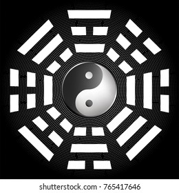 Bagua - symbol of Taoism / Daoism with 8 trigrams with yin yang symbol.