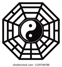 Bagua Trigram Yin Yang eight symbolsTaoist cosmology Chinese principles black and white illustration