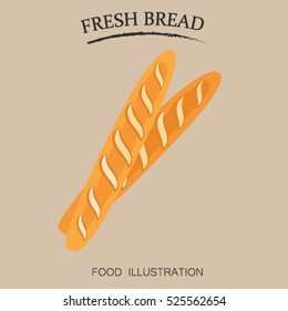 Baguette bakery and bread icon flat style. Flour products vector illustrator